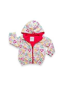 Bebessi Bebessi Renkli Kalp Baskılı Kız Yagmurluk